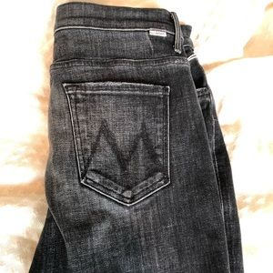 NWT Women's MOTHER black ankle frayed jeans 32